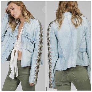 Free People Embroidered Chambray Jacket Size XS